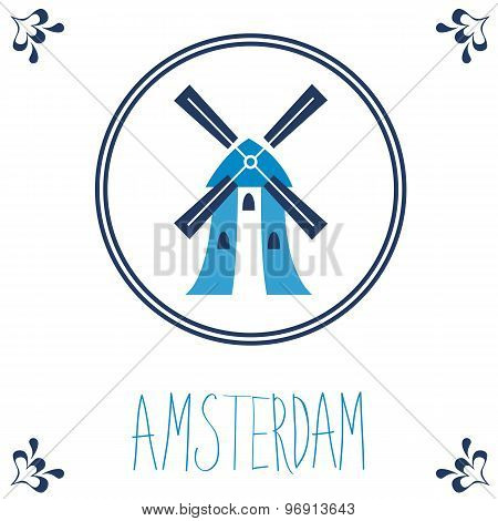Dutch blue tile with windmill