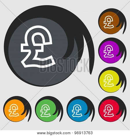 Pound Sterling Icon Sign. Symbol On Eight Colored Buttons. Vector