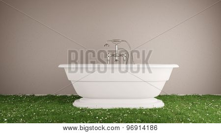 Green grass on floor with bathtub in bathroom as sustainability concept (3D Rendering)