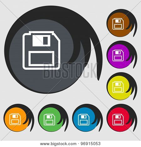 Floppy Disk Icon Sign. Symbol On Eight Colored Buttons. Vector