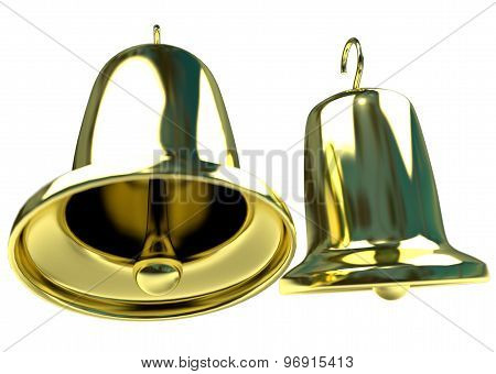 two golden bells isolated on white background