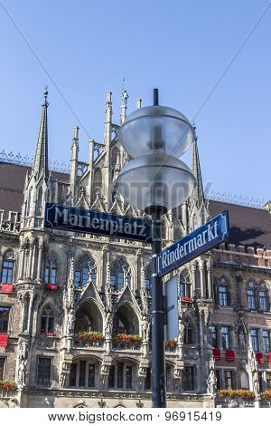 New City Hall Of Munich At Marienplatz With Street Sign In Front, Germany, 2015