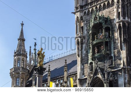 Marian Column Of Munich And The Glockenspiel At Marienplatz, Germany, 2015