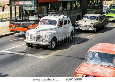HAVANA, CUBA - CIRCA JULY 2015: Old cars on Vedado district in Havana, Cuba.