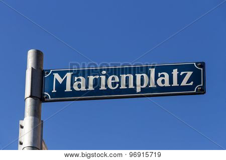 Street Sign Of Marienplatz In Munich, Germany, 2015