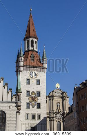 Old Town Hall Of Munich At Marienplatz, Germany, 2015