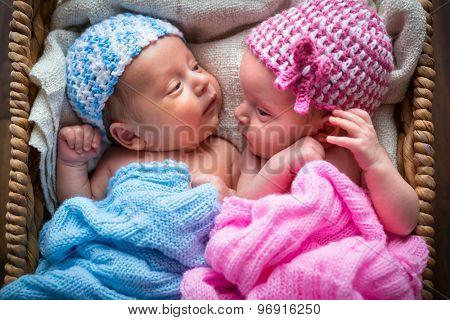 Newborn twins lying down inside the wicker basket