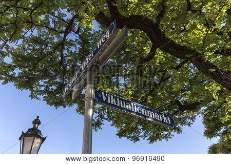Street Sign Of Viktualienmarkt In Munich, Bavaria, Germany, 2015