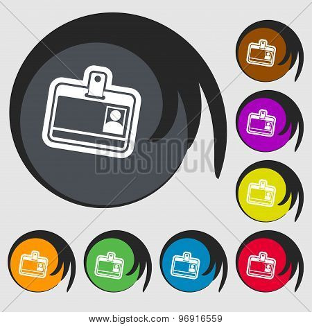 Id Card Icon Sign. Symbol On Eight Colored Buttons. Vector