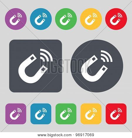 Magnet Icon Sign. A Set Of 12 Colored Buttons. Flat Design. Vector