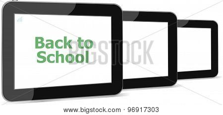 Tablet Pc Set With Dack To School Word On It, Isolated On White