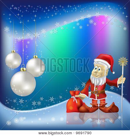 Christmas Nacreous Balls And Santa Claus