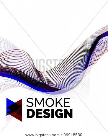 Color smoke wave on white - design element. Business card, presentation or abstract background with your message