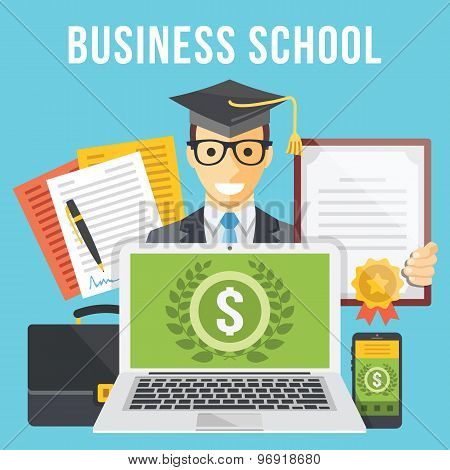 Business school flat illustration concept