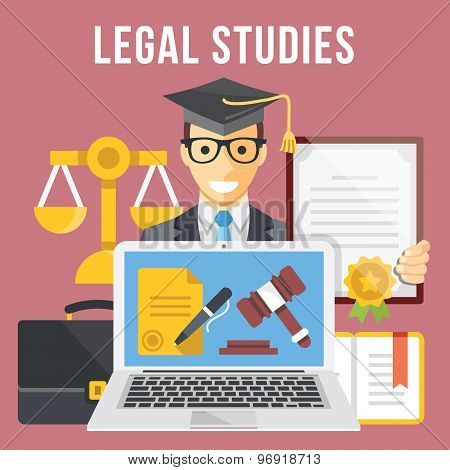 Legal studies flat illustration concept