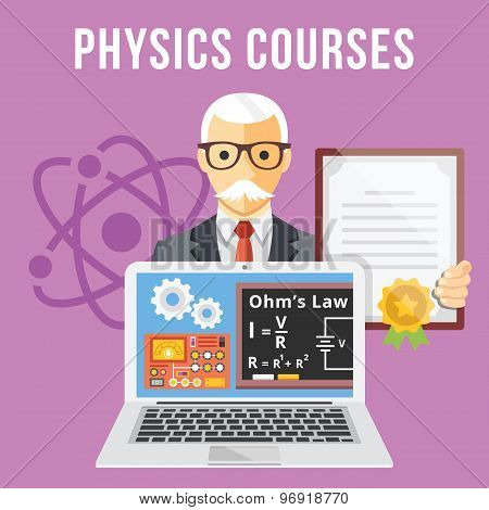 Physics courses flat illustration concept