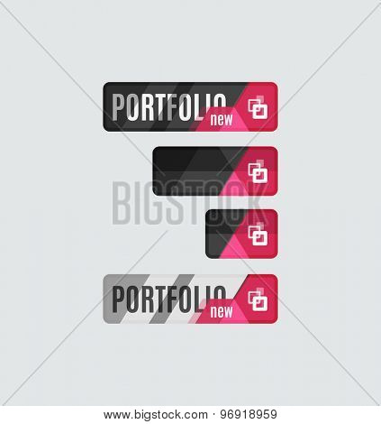 Portfolio button, futuristic hi-tech UI design. Website, mobile applications icon, online design, business, gui or ui