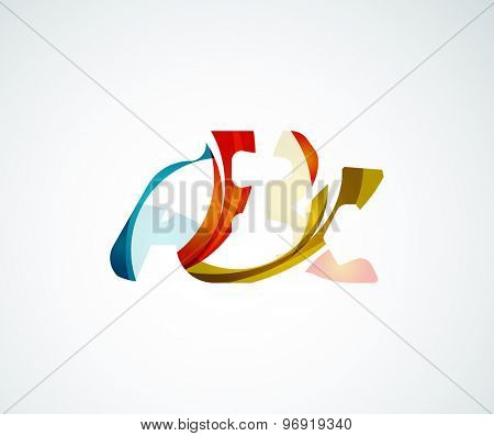 Abc company logo.  illustration. Made of overlapping wave elements, abstract composition. Font business icon concept