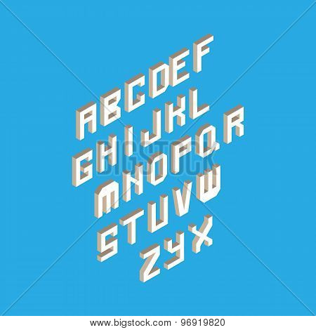 Isometric 3D Type Font Set Isolated Background Illustration. Eps10 Vector File.