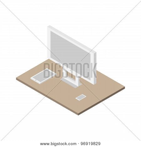 Flat 3D Isometric Set Of Computer, Tablet Pc And Smartphone