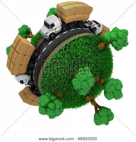 3D Render of Trucks on Road around a grassy globe