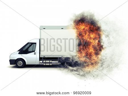 3D render of a flat bed van with a speedy fiery effect added