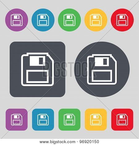 Floppy Disk Icon Sign. A Set Of 12 Colored Buttons. Flat Design. Vector