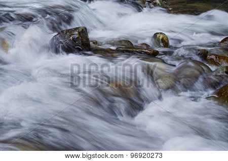 Closeup of flowing water over rocks