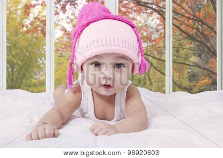 Innocent Baby With Hat At Home