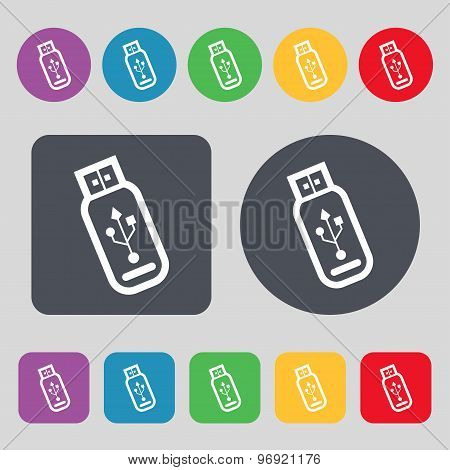 Usb Flash Drive Icon Sign. A Set Of 12 Colored Buttons. Flat Design. Vector