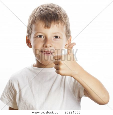 young little boy isolated thumbs up on white