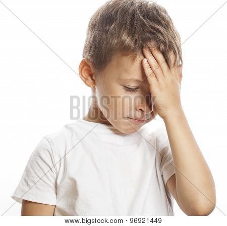 litlle cute blond  boy tired sad isolated