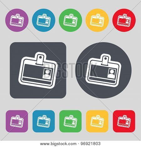 Id Card Icon Sign. A Set Of 12 Colored Buttons. Flat Design. Vector