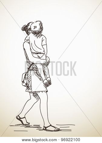 Sketch of woman with child, Hand drawn illustration