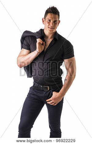 Young muscular man wearing black stylish shirt