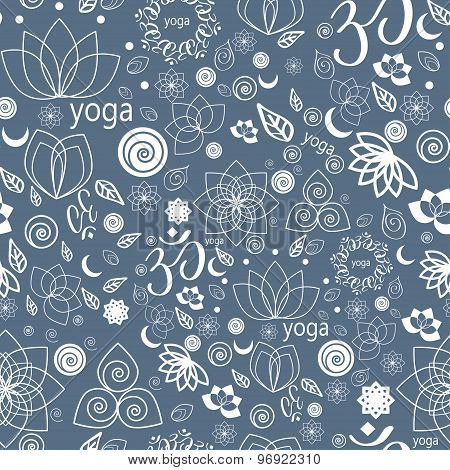Yoga Labels And Icons Seamless Pattern