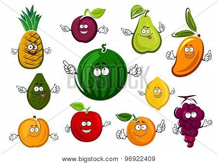 Cartoon garden and tropical fruits