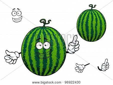 Green striped cartoon watermelon fruit