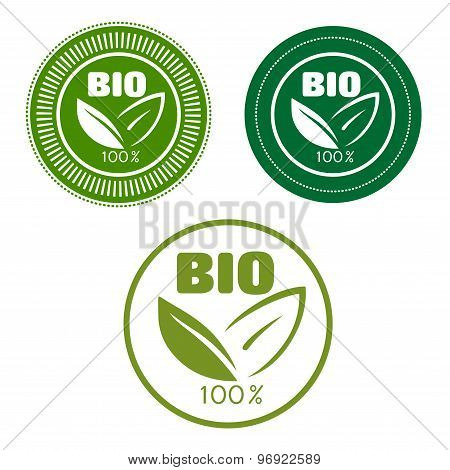Bio labels with green leaves