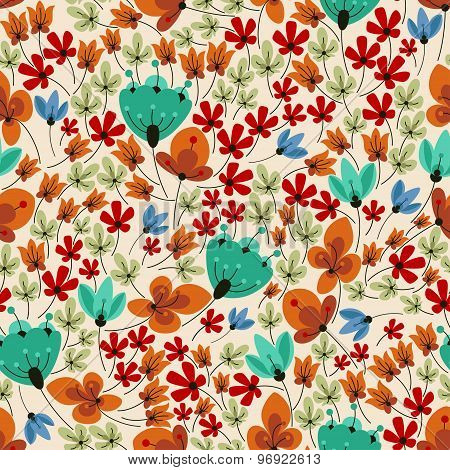 Retro field flowers seamless pattern