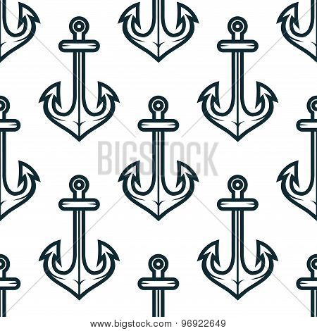 Old nautical ship anchors seamless pattern