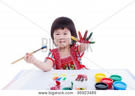 Asian Girl Paint Her Hand, Creativity Concept. Isolated On White