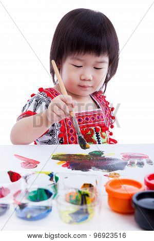 Asian Girl Painting And Using Drawing Instruments, Creativity Concept, Isolated On White, Studio Sho