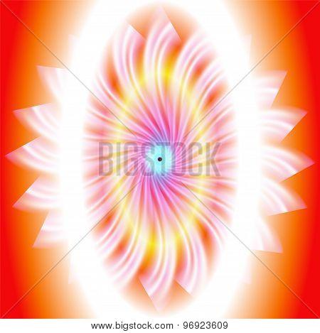 Rotation circle on the light orange background