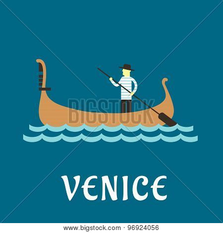 Venetian gondolier flat travel design