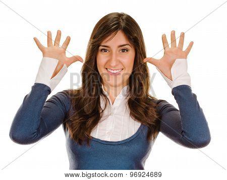 Portrait of happy smiling woman showing ten fingers