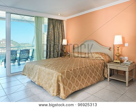 Luxurious hotel room interior with sea view