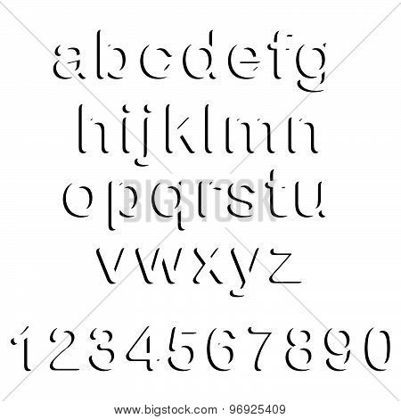 Illustration Vector Of Black Shadow Lowercase Font Set And Numbers Isolated On White Background.