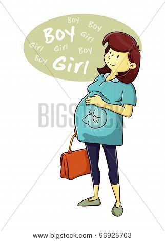 Pregnant Woman Curious About The Baby