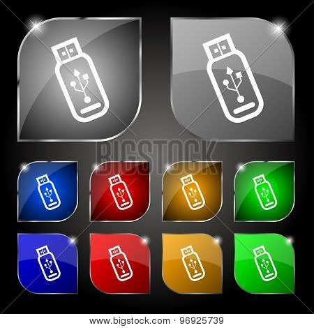Usb Flash Drive Icon Sign. Set Of Ten Colorful Buttons With Glare. Vector